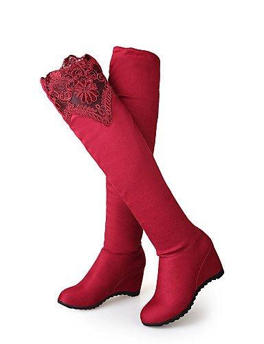 Cuña Moda mujer Zapatos Redonda cn43 eu42 5 eu42 Negro uk8 Tacón 5 us10 Vestido XZZ 5 Vellón red a red Encaje la us10 Casual Rojo Azul us8 eu39 uk6 black cn39 Punta Botas Botas Cuñas de dwPqwEI