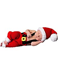 Baby Newborn Photography Props Handmade Crochet Knitted Santa Claus Outfits Halloween Costume for Baby Christmas Cap Hat and Suspender Trousers for Baby Photo Props
