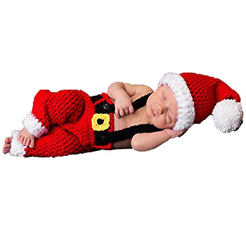 AiXiAng Baby Newborn Photography Props Handmade Crochet Knitted Santa Claus Outfits Halloween Costume for Baby Christmas Cap Hat and Suspender Trousers for Baby Photo Props ()