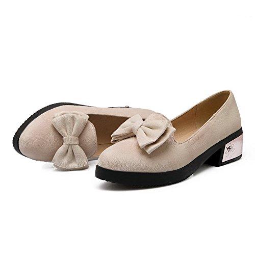 Scarpe Da Donna Allhqfashion Tonde Con Punta Chiusa, Imitate, Scarpe Di Pelle Scamosciata Con Tacco Basso, Scarpe Beige