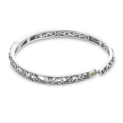 Carolyn Pollack Sterling Silver Green Peridot Gemstone Filigree Hinged Bracelet Size Small (Vintage Jewelry Silver)