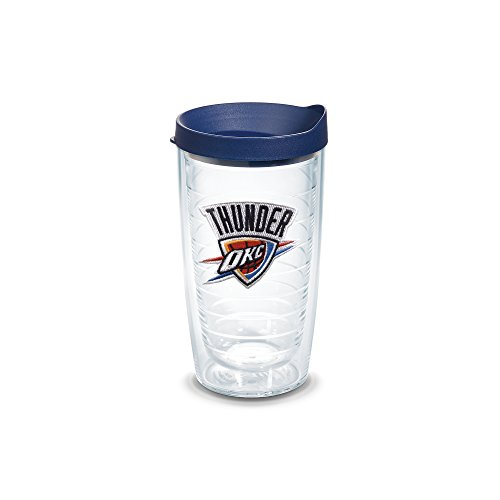 Tervis 1051603 NBA Oklahoma City Thunder Primary Logo Tumbler with Emblem and Navy Lid 16oz, Clear by Tervis