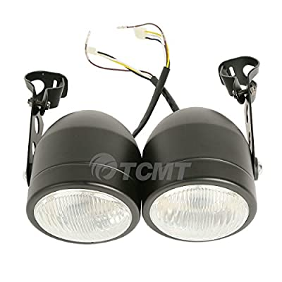 TCMT Dominator Chrome Headlights W/ Bracket For Dirt Bike Street Fighter Cafe Racer