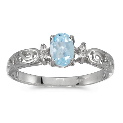 - 0.29 Carat (ctw) 14k White Gold Oval Aquamarine and Diamond Accent Solitaire Filigree Promise Ring (6 x 4 MM) - Size 6.5
