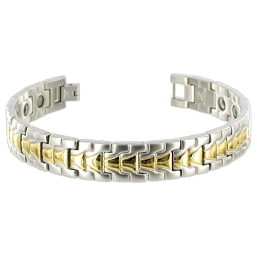 Gem Avenue Stainless Steel 13mm Two Tone Men's Magnetic 9 inch Therapy Bracelet with Fold over Clasps
