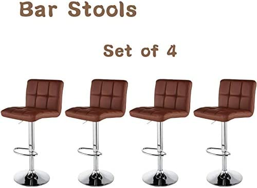 Bar Stools Set of 4 Kitchen stools Modern barstools PU Leather Height Adjustable Swivel Stools Dinning Chairs Counter barstools Set of 4 Brown