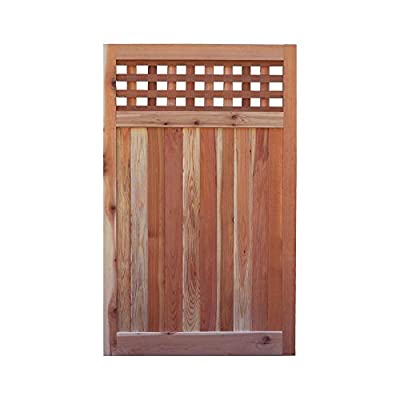 Signature Development 3.5 ft. H W x 6 ft. H H Western Red Cedar Flat Top Checker Lattice Fence Gate