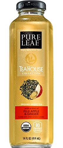 Pure Leaf Tea House Collection Green Tea, Fuji Apple and Ginger Iced Tea 14 oz Bottles - Pack of 12