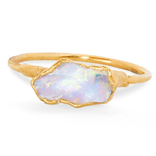 Raw Opal Ring, Size 5, Yellow Gold, October Birthstone Stacking Ring