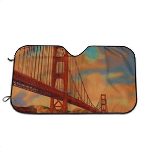 (Golden Gate Bridge San Francisco CA Windshield UV Rays Protector Thicken Sun Shade to Keep Cars Cool Window Damage Free for Summer)