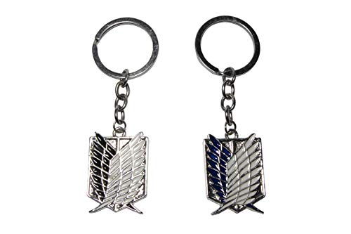 Attack On Titan Scouting Legion Emblem Alloy Key Chain/keychain, Black,Blue, 2 pack