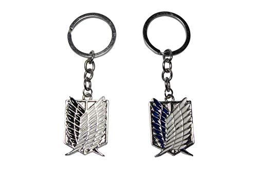Titan Chain - Attack On Titan Scouting Legion Emblem Alloy Key Chain/keychain, Black,Blue, 2 pack