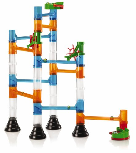 Quercetti Transparent Marble Run - 45 Piece Basic Building Set - Classic Construction Toy Perfect for Beginners Ages 4 and Up (Made in Italy)