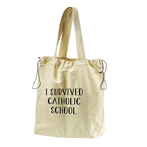 I Survived Catholic School Canvas Drawstring Beach Tote Bag by Style in Print