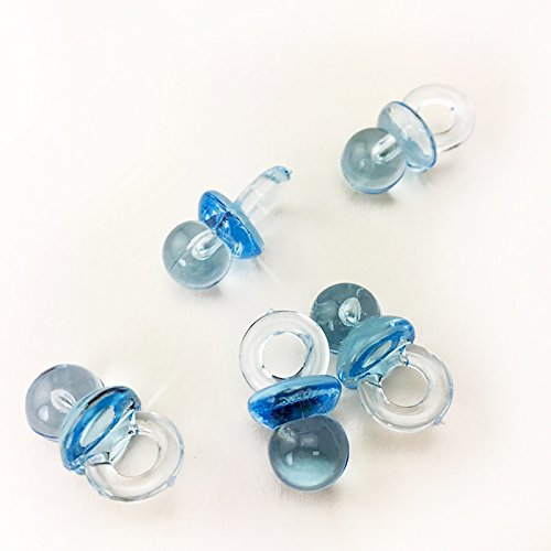 Adorox 144 Small Blue Acrylic Baby Pacifiers Baby Shower Decoration Table Scatter (144 Pieces)