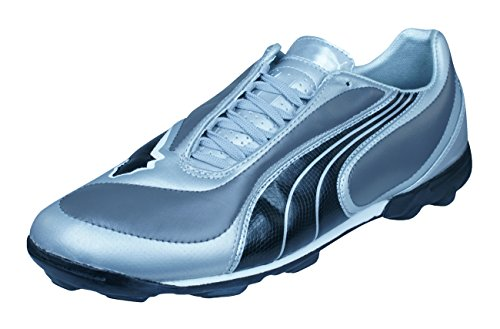 PUMA V3.08 TT Mens Leather Astro Turf Soccer Sneakers-Silver-10.5