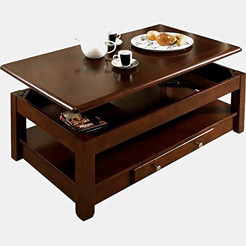 Wood Coffee Table with Drawer and Casters - Coffee Table with Lift Top and Shelf - Cherry 48' Wicker Coffee Table