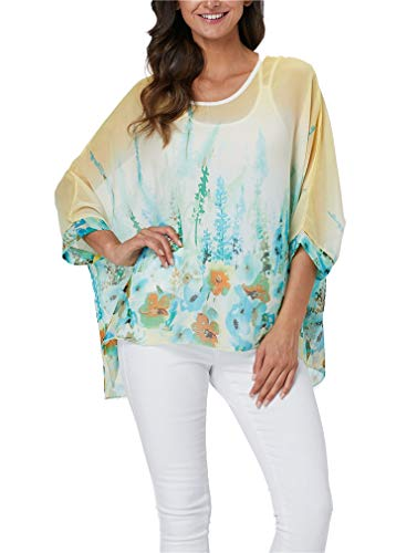 Vanbuy Womens Summer Printed Batwing Sleeve Top Chiffon Poncho Flowy Loose Sheer Blouse Shirt Tunic Z336-43-4347 (Chiffon Printed)