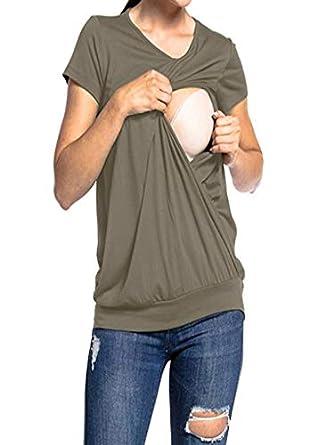 Blusas para Mujeres Embarazadas,Naturazy Color SóLido Camisa De Manga Corta para Mujer Casual Camiseta