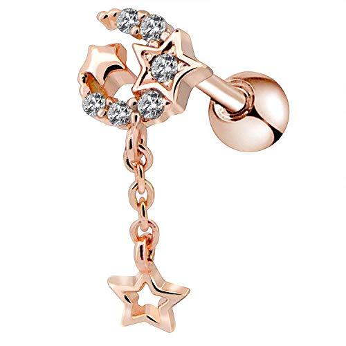 OUFER 16G Stainless Steel Cartilage Earring Stud Star Moon Dangle Helix Earring Tragus Earrings - Dangle Helix