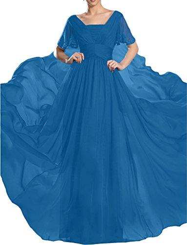 Abendkleid Partykleid Festkleid steine A Hochwertig Ivydressing Aermel Kurz Blau Damen Linie Chiffon Promkleid BwqPZ