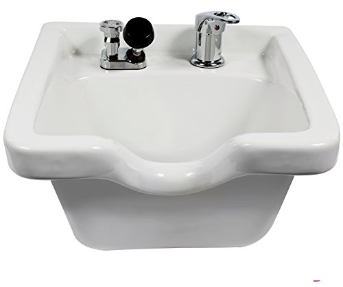 Pro Hair Tools Salon Barber Porcelain Wall Mounted Square Shampoo Bowl In (WHITE) + Free Cape Co. Cutting Cape ($29 value) by ProHairTools