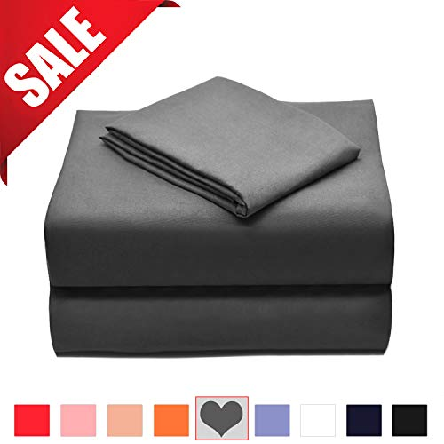 Allo Microfiber Sheet Set, Soft and Breathable Bed Set, Hypoallergenic and Wrinkle, Fade, Stain Resistant - 3 Piece (Grey, Queen) ()