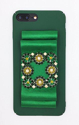 (Designer logo luxury elegant fashion ribbon rihnestones shiny fabric glitter Prom Wedding Case for iPhone 7 Plus (5.5) Green)