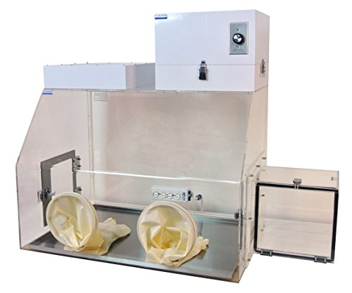 Laboratory Filtered Glove Boxes with HEPA Filter, Airlock, Gloves; 35 x 24 x 25 in. Clear - Housing Lock Box Glove