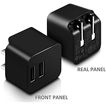 AMEMO 12W 2.4A Dual USB Port Wall Charger Adapter with Foldable Plug for Smartphones, Black