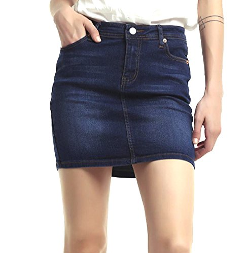 SummerWomen Summer Women Stretchy Rugged Wear Butt Lifting Oversized Jean Skirt Dark Blue XXS
