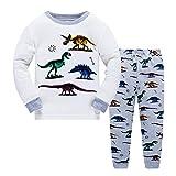 Popshion Boys Pyjamas Dinosaur Kids Pjs Christmas Toddler Clothes Set 100% Cotton Long Sleeve Nightwear Sleepwear 1 to 7 Years