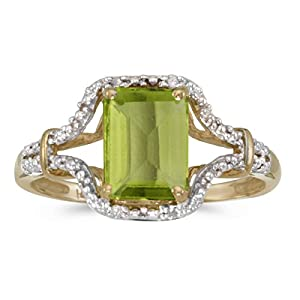 1.32 Carat ctw 14k Gold Emerald Green Peridot Diamond Split Shank Engagement Promise Fashion Ring