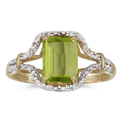 Jewels By Lux 14k Yellow Gold Genuine Green Birthstone Solitaire Emerald-cut Peridot And Diamond Wedding Engagement Ring - Size 11 (1.3 Cttw.) ()