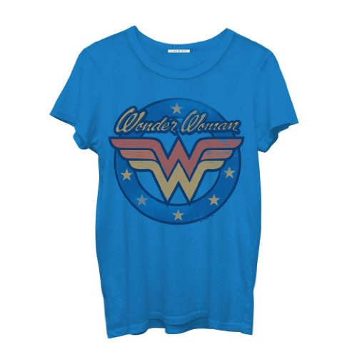Junk Food Wonder Woman Logo Juniors Blue T-Shirt (Juniors X-Large)