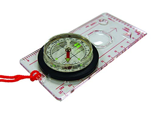 UST Deluxe Map Compass with Raised Base Plate and Swivel Bezel for Hiking, Camping, Backpacking, Emergency and Outdoor Survival ()