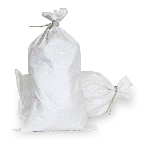 Empty White Woven Polypropylene Sandbags w/ Ties, w/ UV Protection; size: 14