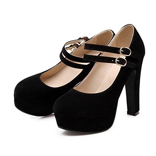 Balamasa Dames Boucles En Métal Boucle Souple Matériel Chaussures-chaussures Noir