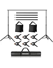 Neewer Photo Studio Backdrop Support System, 10ft/3m Wide 7ft/2.1m High Adjustable Background Stand with 4 Crossbars, 6 Backdrop Clamps, 2 Sandbags, and Carrying Bag for Portrait & Studio Photography photo