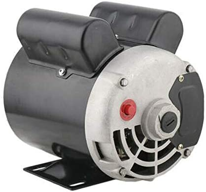 """41tmKgJ4a0L. AC Air Compressor Electric Motor 2 HP SPL 3450RPM Single Phase Electric Air Compressor Motor 120V/240V 56 Frame 5/8"""" Shaft    Specifications:【HIGH QUALITY MATERIAL】Air Compressor Electric Motor, made of high quality steel, rigid base, mounting bracket included, able to withstand harsh industrial applications. Equipped with UL approved manual thermal overload, capacitors and high quality ball bearings to ensure the lifetime.【POWERFUL AC MOTOR】Powerful AC motor, high starting torque, reduced starting amperage design to ensure the reduced voltage starting at rated load. Manual overload protection, totally enclosed fan, lubricated with low temperature grease. (Air Compressor Electric Motor, 2HP, SPL, 3450RPM, 56 Frame, 120V/240V, 15/7.5Amp, 5/8"""" Shaft, Single Phase.)【MAIN PARAMETERS 1】Power: 120V/240V 2HP; Speed: 3450RPM; Frequency: 60HZ; AMB 40°C; Frame: 56; Duty: Cont. Compressor; Service Factor: 1.0; Full Load Amps: 15/7.5; NS.CL: F; Single Phase; Open Drip Proof (ODP) Enclosure; Non-Reversible, CCW Rotation Facing Shaft; Thermally Protected; Manual Reset Overload Protection.【MAIN PARAMETERS 2】Overall Length W/O Shaft: 9.75""""; Overall Length With Shaft: 12.3""""; Overall Height: 8.5""""; Overall Width: 6.35""""; Shaft Diameter: 5/8""""; Shaft Length: 2.55""""; Standard Size Keyway: 3/16""""; Package size: 14'' x 11'' x 8''; Shipping weight: 25lb.【SPECIAL DESIGN】Open drip-proof is better used in environment that are relatively clean and dry environments. Special design for air compressor duty. Motor is non-reversible CCW(counter clockwise) only. (Default settings are default low-voltage current. If the need to use high-voltage current, please replace the use of high voltage wiring.)"""