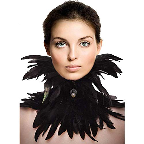 (HOMELEX Gothic Victorian Black Natural Feather Collar Choker Halloween (Collar)