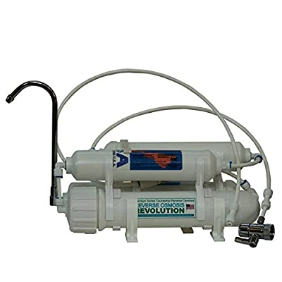 Premium Countertop Reverse Osmosis Revolution Water Filtration System with 100 GPD membrane. Made in USA. Universal faucet/laundry outlet connection.