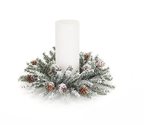 Diva At Home Set of 6 White and Green Decorative Frosted Pine and Cone Artificial Candle Ring 11