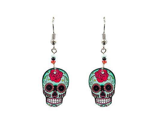 Day of the Dead Sugar Skull Dangle Earrings -