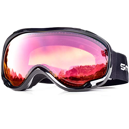 HUBO SPORTS OTG Skiing Snow Goggles with UV Protection, Ski Goggles of Dual Lens with Anti Fog for Men, Women (BBRose)