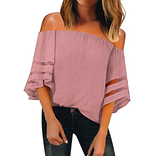 Women's Sexy Off Shoulder Tops Fashion Mesh Panel Blouse 3/4 Bell Sleeve Loose Summer Top T Shirts Pink ()