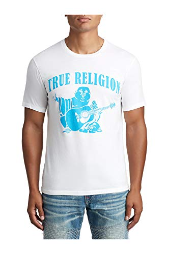 True Religion Men's Neon Classic Buddha Logo Tee T-Shirt (Large, White)