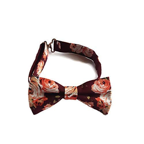Accessories482 Burgundy Floral Mens Pre-tied Bow tie Groomsmen Outfits Groom Wedding Party Accessory