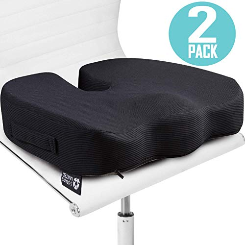 Seat Cushion Pillow for Office Chair - 2-Pack, 100% Memory Foam - Firm Coccyx Pad - for People 150-220lb - Tailbone, Sciatica, Lower Back Pain Relief - Posture Corrector for Car, Wheelchair, Desk