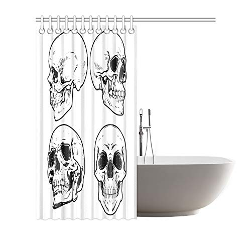 RYUIFI Home Decor Bath Curtain Skull Collection Polyester Fabric Waterproof Shower Curtain for Bathroom 7272 Inch Shower Curtains Hooks Included ()